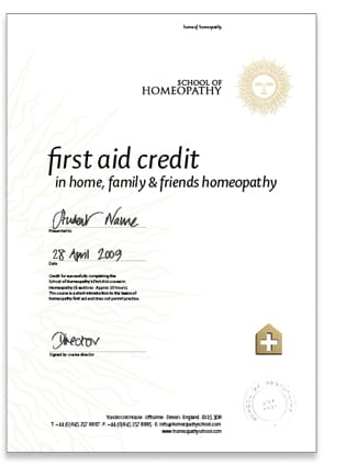 Homeopathy First Aid Home Certificate