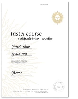 Taster Course Certificate